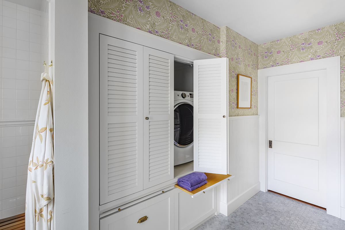 New Laundry Storage Hidden In Master Bathroom
