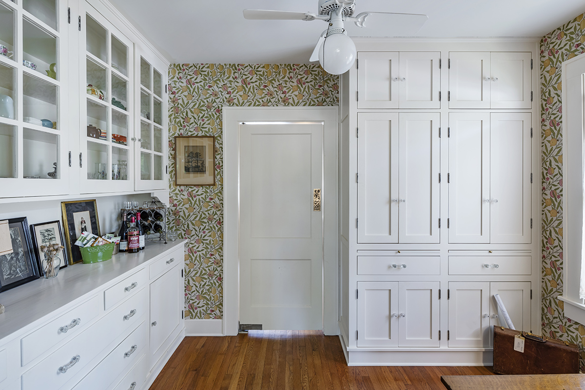Original Butler's Pantry With William Morris Wallpaper, New And Old Cabinetry